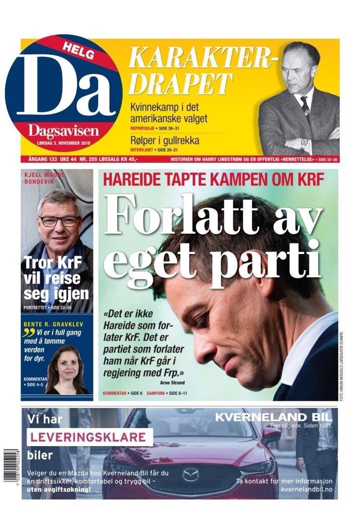 """Avisene om Kristelig Folkeparti og Hareide """"dagen derpå"""" 3"""