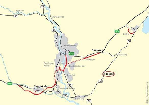 Snart blir det 90 km/t gjennom Kongsberg 3