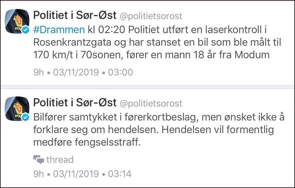 Rosenkrantzgata i Drammen:<br/> 18-åring målt til 170 km/t 2